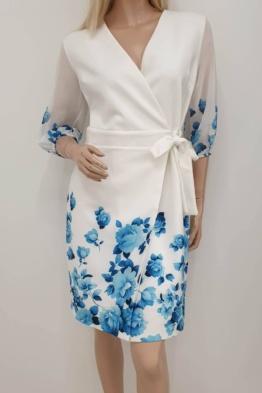 hõlmikkleit valge siniste lilledega