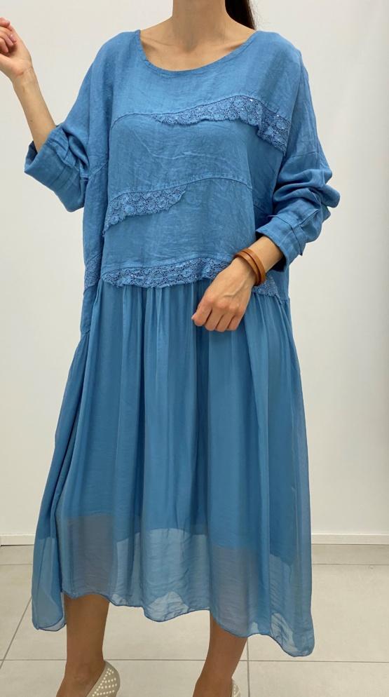 kleit sinine puuvilla ja siidiga